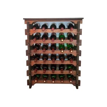 Imagem de Adega Vinho Madeira 30 Garrafas Tipo Mesinha Cor Imbuia C05
