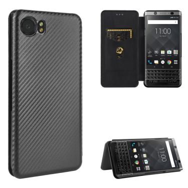 Para blackberry keyone dtek70 luxo flip pele de fibra carbono adsorção magnética caso para