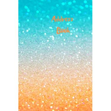 Address Book: A to Z address book to record and organise all your contacts. Never loose friends contact details again. Keep organised. Blue and orange sunset glitter design