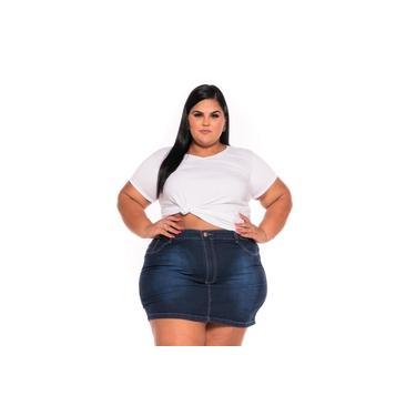 Mini Saia Jeans Escura com Bordado 44 ao 60 3221