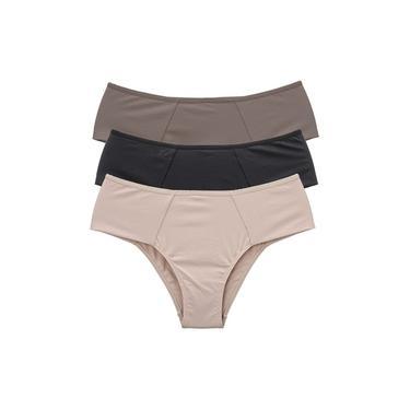 Kit Calcinha Feminina Alta Lateral Larga Conforto Casual Marrom