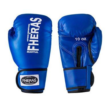 Luva de Boxe Muay Thai MMA 16oz Azul Fheras