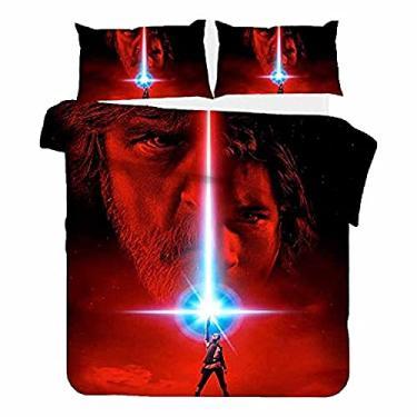 Imagem de JJIIEE Conjunto de cama com tema de filme, estampa 3D, conjunto de capa de edredom de microfibra com estampa Star-Wars com fronha, macio e respirável, lavável na máquina, duplo 199 cm × 199 cm