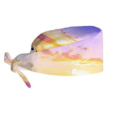 Boné U Life Sea Sky Ocean Clouds Sun Working Cap com botão Tie Back Hats para mulheres e homens