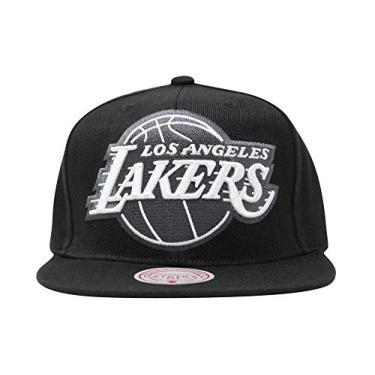Boné de aba reta com estampa branca em negrito GG da Mitchell & Ness, Los Angeles Lakers, tamanho �nico
