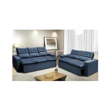 Imagem de Conjunto de Sofá 3 e 2 Lugares Retrátil e Reclinável Cama inBox Slim 2,00x1,50m Velusoft Azul