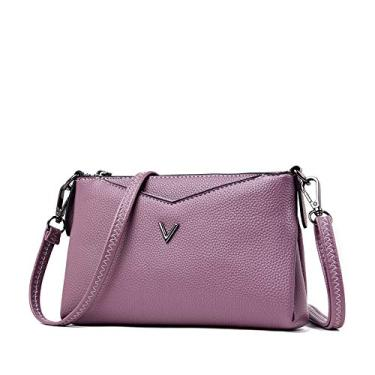 SWGG Bolsa de embreagem feminina de couro macio coreano moda feminina bolsa mensageiro de ombro único bolsa pequena bolsa simples bolsa mensageiro bolsa feminina maré roxo