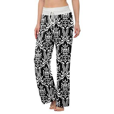 LONGYUAN Calça de pijama feminina confortável casual com elástico e cordão Palazzo Lounge Calça pantalona para todas as estações, Bw Grain, S