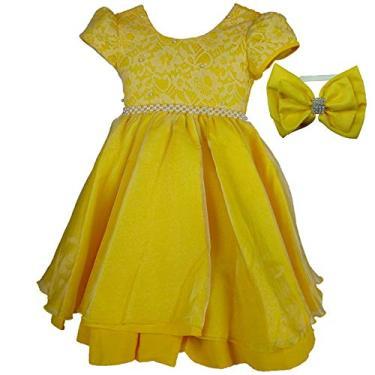 Vestido de Festa Rendado Princesa Bela Luxo Com Tiara M 7-8