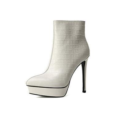 Imagem de TinaCus Bota feminina de couro legítimo feita à mão com bico fino, zíper lateral, salto agulha alto sexy, Branco, 5.5
