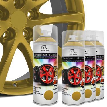Kit 4 Spray Envelopamento Liquido Dourado 400ml Multilaser Au422 Multiuso Rodas Carro Moto