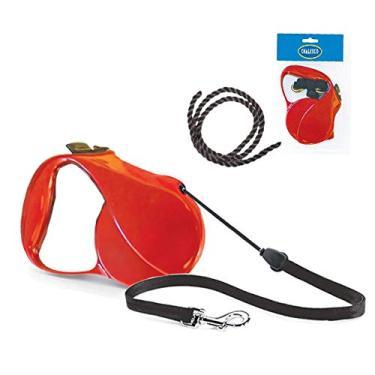 Guia Retratil de corda para cães com 5 metros e suporta cães até 25 Kg Chalesco Vermelha