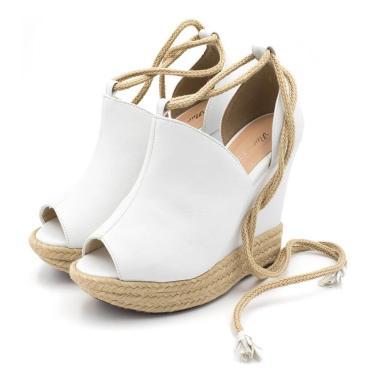 Sandália Anabela Anna Andrade Plataforma Ankle Boot Branca  feminino