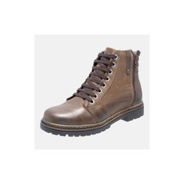 Bota Coturno Em Couro Mega Boots 6026 Chumbo-cafe  masculino