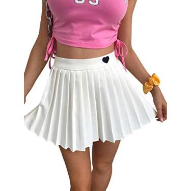 Mini saia plissada feminina Verdusa de cintura alta bordado coração evasê, Branco, Medium