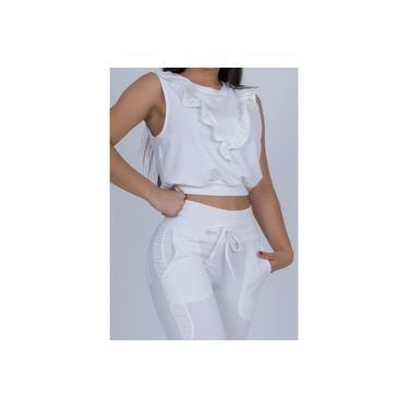 Conjunto Miss Misses Blusa e Calça de Moletinho Off-White