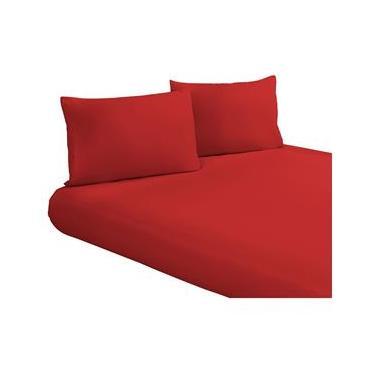 Imagem de Lençol Vermelho King Size Avulso com Elástico Tecido Microfibra 170 Fios