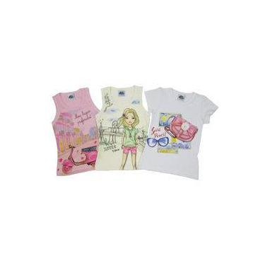 Blusa Feminina Infantil Kit Com 3 Unidades Rosa, Creme E Branca