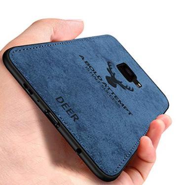 EUDTH Capa para Galaxy S9+, capa traseira ultrafina com estampa de veado híbrida, textura de tecido, TPU macio, à prova de choque, capa protetora para Samsung Galaxy S9+/S9 Plus - azul