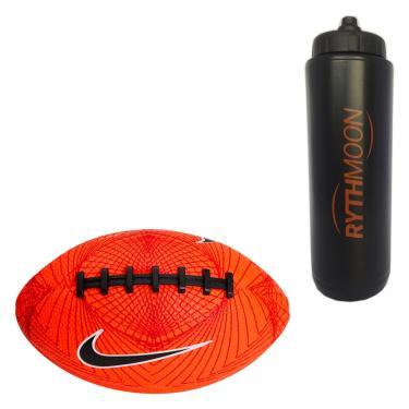 Kit Bola Nike Futebol Americano 500 Mini 4.0 Laranja + Squeeze Automático  1lt bc5441eebda00