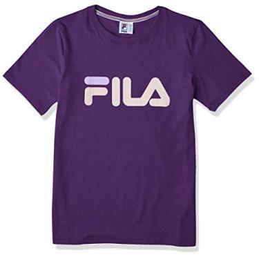 Camiseta Basic Letter, Fila, Feminino, Uva/Rose Nude, M
