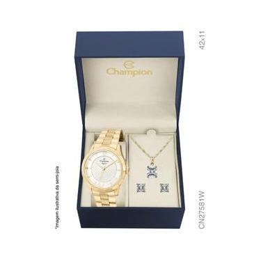 dcfac320137 Kit Relógio Feminino Champion CN27581W Elegance Analógico Dourado Colar e  Brincos
