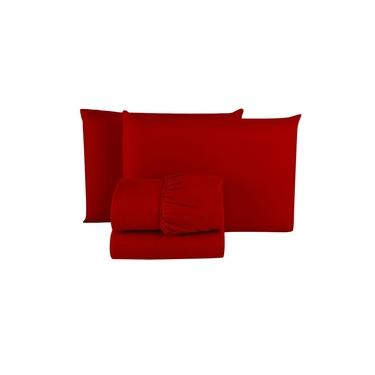 Imagem de Kit 5 Jogo de Lençol Casal Microfibra PREMIUM 03 Peças Jogo de Cama Box 30CM Altura TODOS VERMELHO