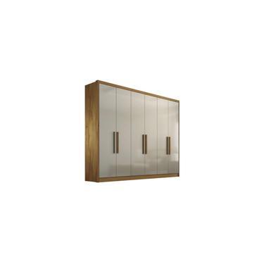 Imagem de Guarda-roupa Casal 6 Portas Rizon Freijo Dourado Off White