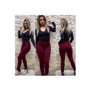 Calça Jeans Feminina Color Vermelho Escuro Cintura Alta