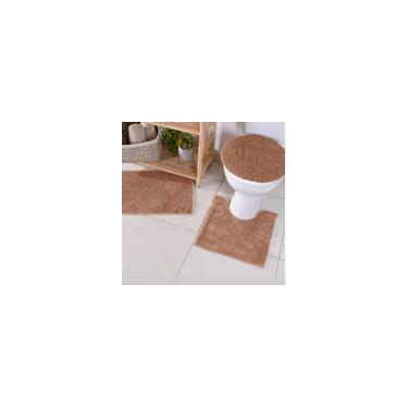 Imagem de Jogo De Banheiro Bolinha Popcorn Antiderrapante 3Pçs Marrom - Panosul