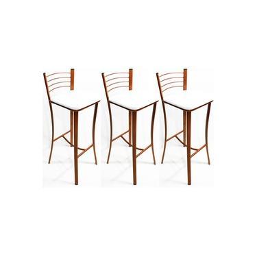 Kit 3 Banquetas cozinha Cobre alta assento branco