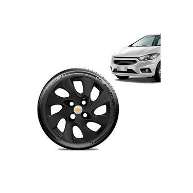 Imagem de Calota Chevrolet GM Prisma 2013 14 15 16 Aro 14 Preta Fosca Emblema Prata