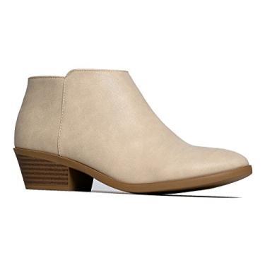 J. Adams Lexy Ankle Boot - Bota casual de cano baixo com bico fechado e bico baixo, Beige Golden Pu, 9