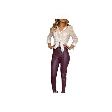 Calça Feminina Cintura Alta Skinny Bengaline Roxo