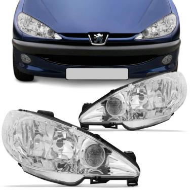 Par Farol Peugeot 206 1999 2000 2001 2002 2003 2004 2005 2006 Foco Duplo Máscara Cromada