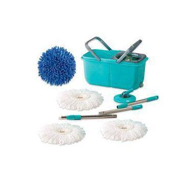 Mop Premium Limpeza Prática Mor Cesto Inox com 3 Refil Esfregão e 1 Refil Tira Pó