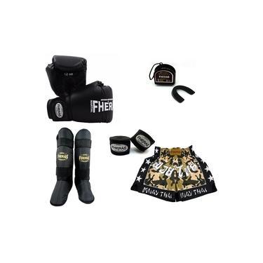 Kit Boxe Muay Thai Trad - Luva Bandagem Bucal Caneleira Free Style Shorts (Camuflado) 08 oz - Preto