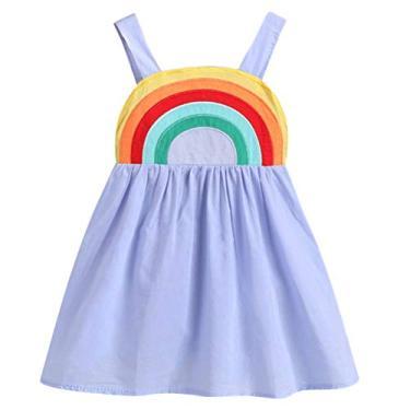 SOIMISS vestido de menina com alça impressão vestido mangas de verão saia traje vestido de praia tamanho 100 cm (violeta)