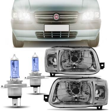 Par Farol Uno Fiorino Máscara Cromada 2004 a 2012 + Par Lâmpada Super Branca Philips H4 4300K