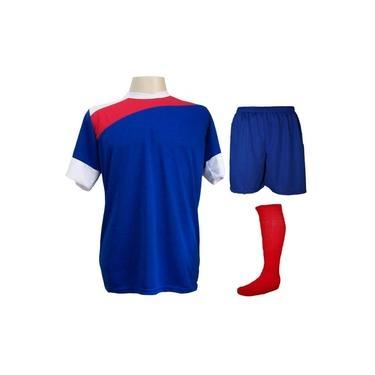 Uniforme Esportivo Completo modelo Sporting 14+1 (14 camisas Royal/Vermelho/Branco + 14 calções Madrid Royal + 14 pares de meiões Vermelho + 1 conjunto de goleiro) +