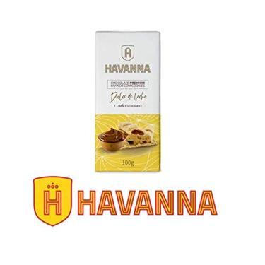 Barra de Chocolate Premium Branco Havanna c/ Cookie Recheio Doce de Leite e Limão Siciliano100g
