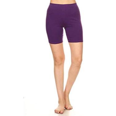 Shorts de ciclismo Hajotrawa feminino de algodão e Plus Fitness elástico para ioga, Roxa, XL