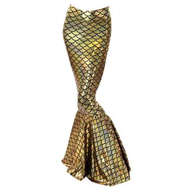 Saia feminina Doufine solta de sereia com controle longo formal, Dourado, XL