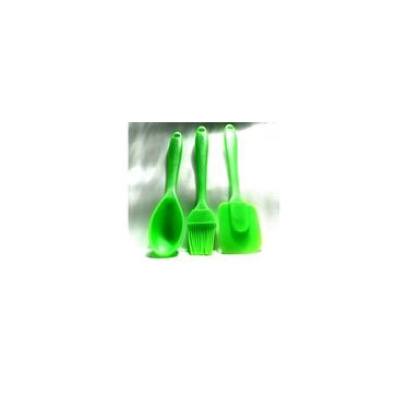 Kit Cozinha com 3 UN Silicone Colher + Espátula + Pincel