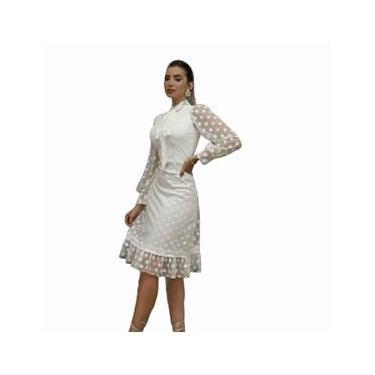 Imagem de Vestido Midi Branco Off White Moda Evangelica Casamento Civil