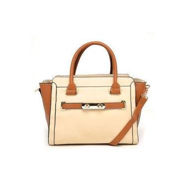 Bolsa Tote Bag Media Bicolor Alice Palucci Marrom/areia Al4803