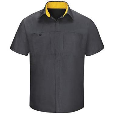 Imagem de Camisa masculina Red Kap manga curta Performance Plus Shop com tecnologia OilBlok, Charcoal With Yellow Mesh, X-Large Tall
