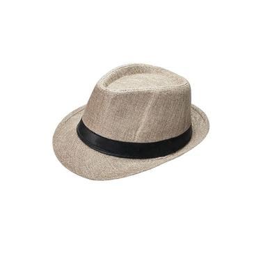 Chapéu Panamá Palha Aba Curta Faixa Preta Cor Cinza