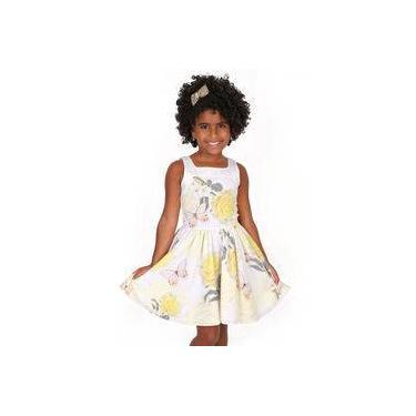 Vestido Infantil com Strass e Pérolas Estampa Rosas Amarelas Gabriela Aquarela