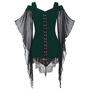 Vestidos góticos para mulheres Plus Size Criss Cross Lace T-Shirt Dress Butterfly Sleeve Irregular Cosplay Vestido Chaofanjiancai, X-green, XX-Large